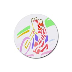 Motorcycle Racing The Slip Motorcycle Rubber Round Coaster (4 Pack)