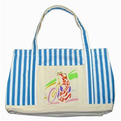 Motorcycle Racing The Slip Motorcycle Striped Blue Tote Bag by Nexatart