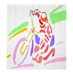 Motorcycle Racing The Slip Motorcycle Shower Curtain 66  X 72  (large)  by Nexatart