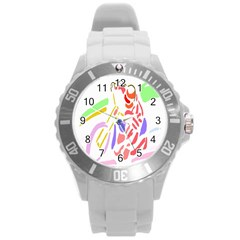Motorcycle Racing The Slip Motorcycle Round Plastic Sport Watch (l) by Nexatart