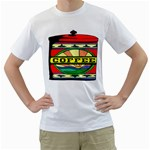 Coffee Tin A Classic Illustration Men s T-Shirt (White) (Two Sided)
