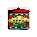 Coffee Tin A Classic Illustration Rubber Coaster (Square)