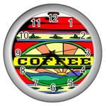 Coffee Tin A Classic Illustration Wall Clocks (Silver)