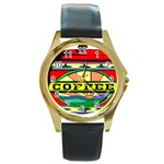 Coffee Tin A Classic Illustration Round Gold Metal Watch