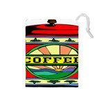 Coffee Tin A Classic Illustration Drawstring Pouches (Medium)