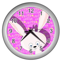 Easter Bunny  Wall Clocks (silver)  by Valentinaart