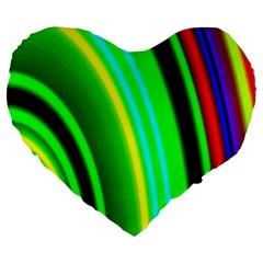 Multi Colorful Radiant Background Large 19  Premium Heart Shape Cushions by Nexatart