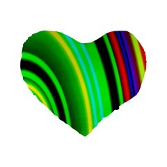 Multi Colorful Radiant Background Standard 16  Premium Flano Heart Shape Cushions by Nexatart