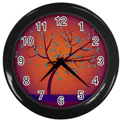 Beautiful Tree Background Wall Clocks (black) by Nexatart