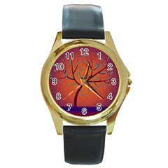 Beautiful Tree Background Round Gold Metal Watch