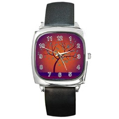 Beautiful Tree Background Square Metal Watch