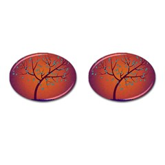 Beautiful Tree Background Cufflinks (oval) by Nexatart