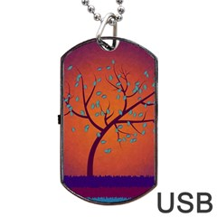 Beautiful Tree Background Dog Tag Usb Flash (one Side)