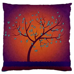 Beautiful Tree Background Large Flano Cushion Case (two Sides)