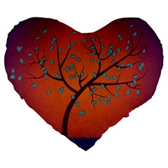 Beautiful Tree Background Large 19  Premium Flano Heart Shape Cushions by Nexatart