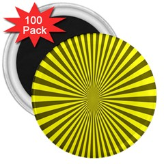 Sunburst Pattern Radial Background 3  Magnets (100 Pack)