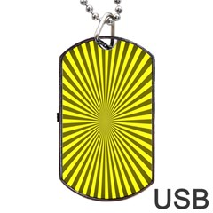 Sunburst Pattern Radial Background Dog Tag Usb Flash (one Side) by Nexatart