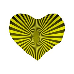 Sunburst Pattern Radial Background Standard 16  Premium Flano Heart Shape Cushions by Nexatart