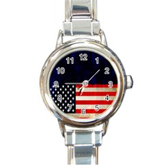 Grunge American Flag Background Round Italian Charm Watch