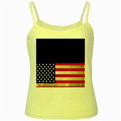Grunge American Flag Background Yellow Spaghetti Tank