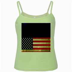 Grunge American Flag Background Green Spaghetti Tank