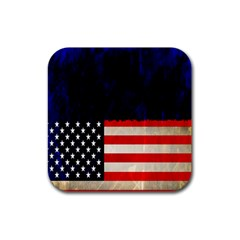 Grunge American Flag Background Rubber Square Coaster (4 Pack)  by Nexatart