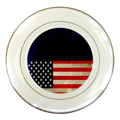 Grunge American Flag Background Porcelain Plates by Nexatart