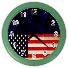 Grunge American Flag Background Color Wall Clocks by Nexatart