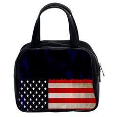 Grunge American Flag Background Classic Handbags (2 Sides)
