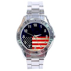 Grunge American Flag Background Stainless Steel Analogue Watch by Nexatart