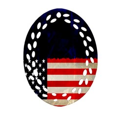 Grunge American Flag Background Oval Filigree Ornament (two Sides) by Nexatart