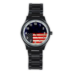 Grunge American Flag Background Stainless Steel Round Watch