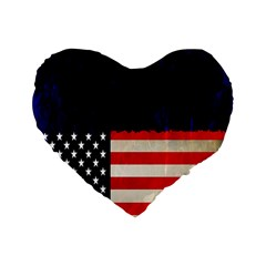 Grunge American Flag Background Standard 16  Premium Flano Heart Shape Cushions