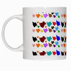 A Creative Colorful Background With Hearts White Mugs by Nexatart