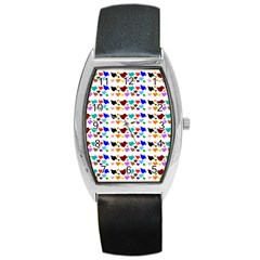 A Creative Colorful Background With Hearts Barrel Style Metal Watch