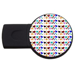 A Creative Colorful Background With Hearts USB Flash Drive Round (4 GB) by Nexatart