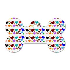 A Creative Colorful Background With Hearts Dog Tag Bone (two Sides) by Nexatart