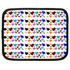 A Creative Colorful Background With Hearts Netbook Case (xxl)  by Nexatart