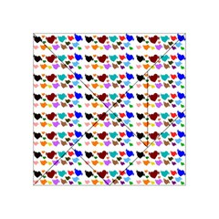 A Creative Colorful Background With Hearts Acrylic Tangram Puzzle (4  X 4 ) by Nexatart