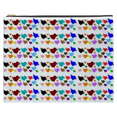 A Creative Colorful Background With Hearts Cosmetic Bag (xxxl)