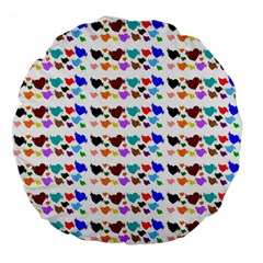A Creative Colorful Background With Hearts Large 18  Premium Flano Round Cushions by Nexatart