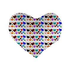 A Creative Colorful Background With Hearts Standard 16  Premium Flano Heart Shape Cushions by Nexatart