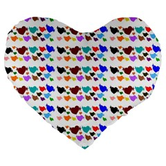 A Creative Colorful Background With Hearts Large 19  Premium Flano Heart Shape Cushions by Nexatart