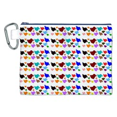 A Creative Colorful Background With Hearts Canvas Cosmetic Bag (xxl) by Nexatart