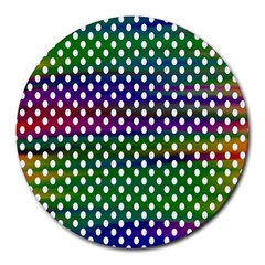 Digital Polka Dots Patterned Background Round Mousepads by Nexatart