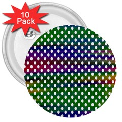 Digital Polka Dots Patterned Background 3  Buttons (10 Pack)