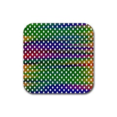 Digital Polka Dots Patterned Background Rubber Square Coaster (4 Pack)  by Nexatart