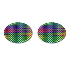 Digital Polka Dots Patterned Background Cufflinks (oval) by Nexatart