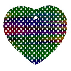 Digital Polka Dots Patterned Background Heart Ornament (two Sides) by Nexatart