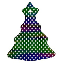 Digital Polka Dots Patterned Background Christmas Tree Ornament (two Sides) by Nexatart
